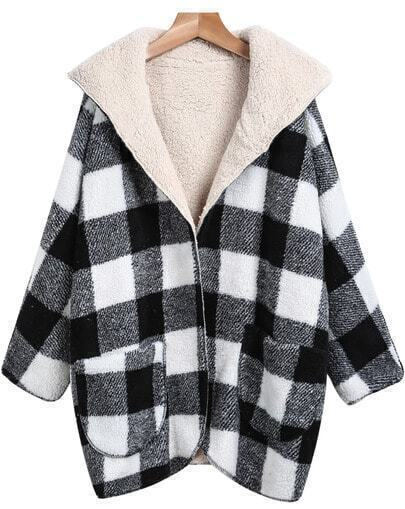 Black White Hooded Plaid Woolen Coat