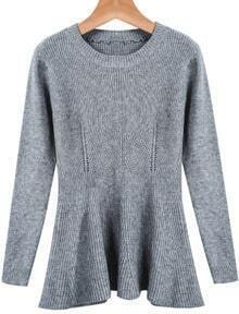Grey Long Sleeve Ruffle Knit Sweater
