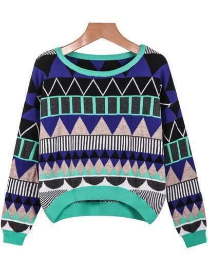 Blue Green Long Sleeve Geometric Pattern Sweater