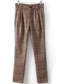 Khaki Slim Plaid Pockets Pant