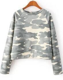 Grey Long Sleeve Camouflage Crop Sweatshirt