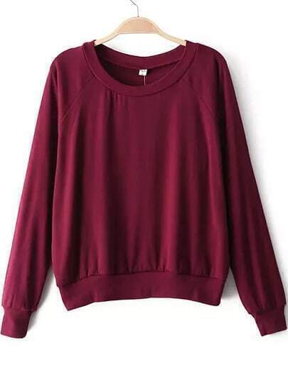 Wine Red Round Neck Long Sleeve Loose Sweatshirt