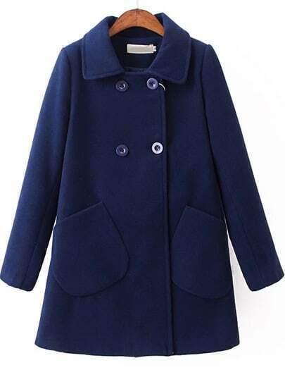 Blue Lapel Long Sleeve Pockets Woolen Coat