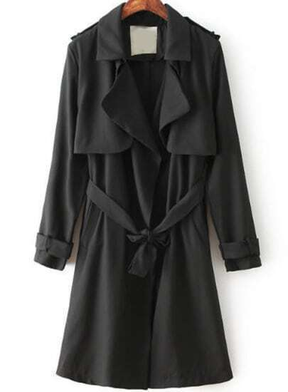 Black Lapel Long Sleeve Belt Trench Coat