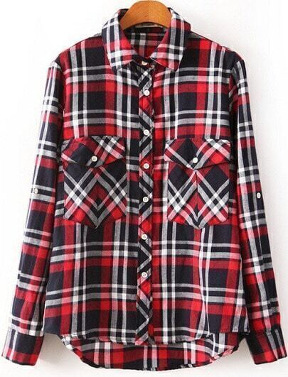Red Lapel Long Sleeve Plaid Loose Blouse