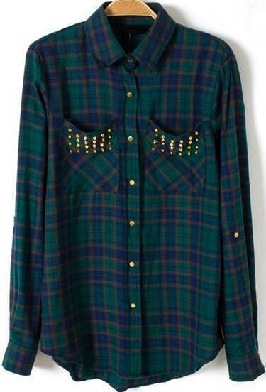 Green Long Sleeve Plaid Rivet Pockets Blouse