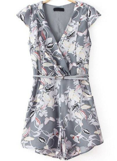 Grey V Neck Short Sleeve Floral Jumpsuit