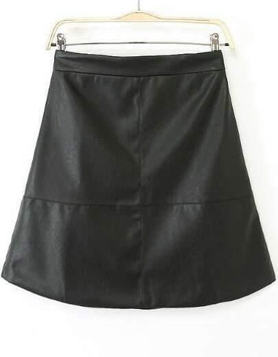 Black High Waist A Line PU Skirt