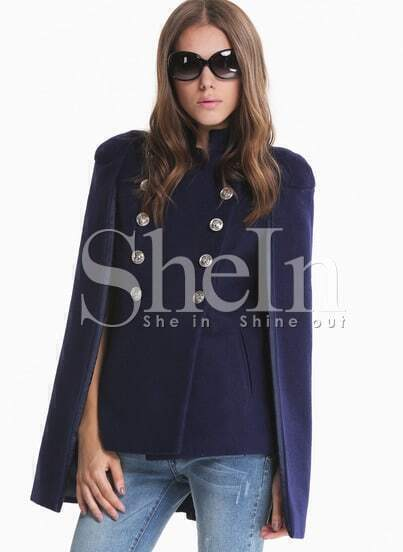 Blue Stand Collar Buttons Cape Coat