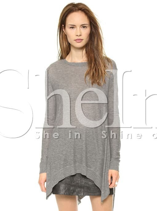 Grey Long Sleeve Asymmetrical Knit Sweater