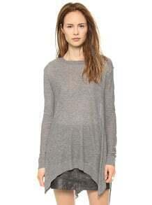 Grey Long Sleeve Asymmetrical Knit Sweater