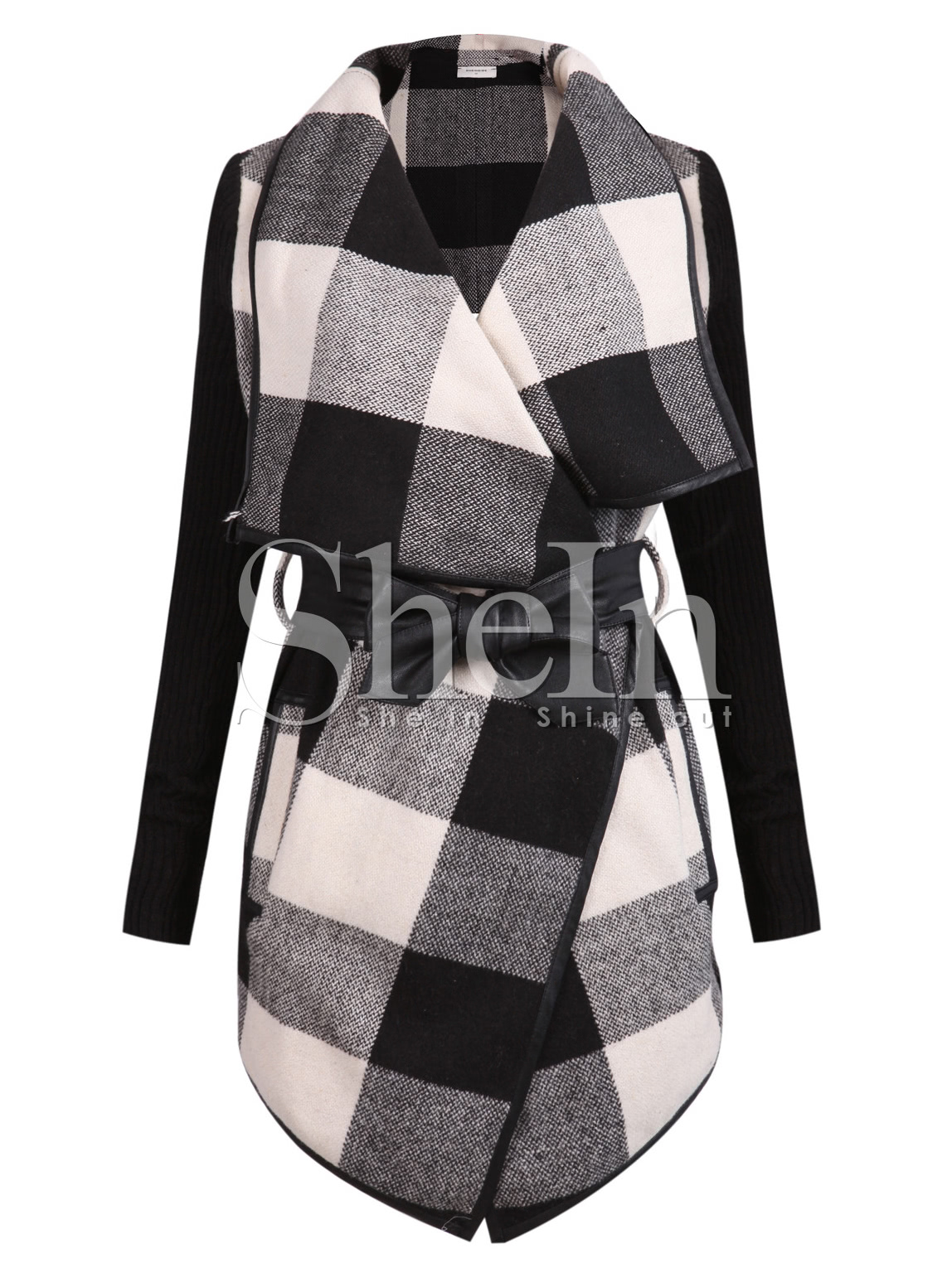 Check Plaid Contrast Ribbed Sleeve Belt Coat contrast check plaid embroidered appliques sweatshirt