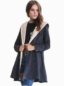Navy Hooded Long Sleeve Drawstring Coat