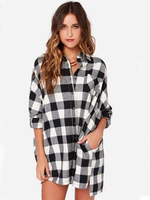 Black White Long Sleeve Plaid Pockets Knitting Coat