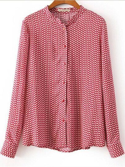 Red Stand Collar Long Sleeve Leaves Print Blouse