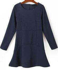 Navy Round Neck Long Sleeve Zipper Dress