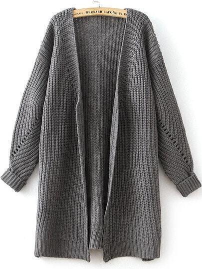 Grey Long Sleeve Hollow Knit Cardigan