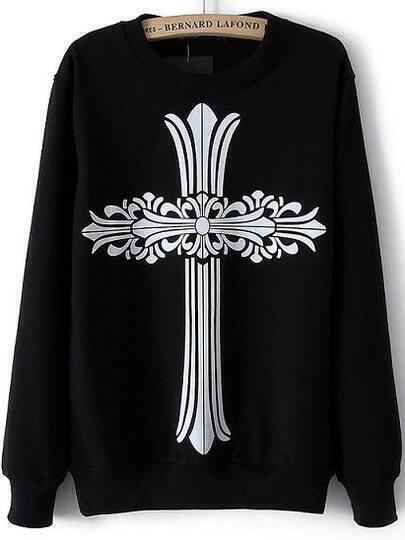 Black Long Sleeve Cross Print Loose Sweatshirt