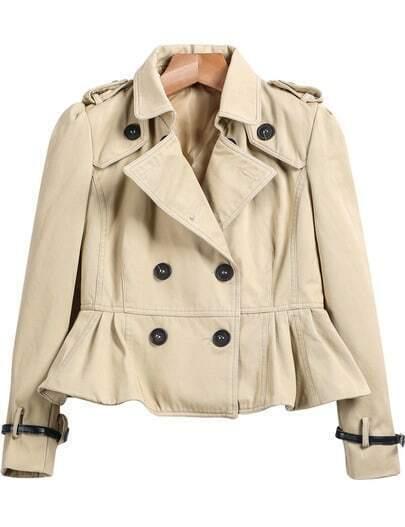 Khaki Long Sleeve Ruffle Crop Coat