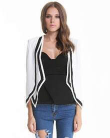 White Long Sleeve Contrast Trims Blazer Cape