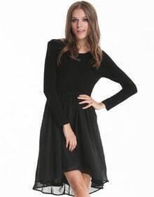 Black Long Sleeve Contrast Layred Chiffon Dress