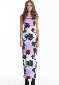 Purple Lilac Lavender Mauve Strap Coconut Palm Print Maxi Dress
