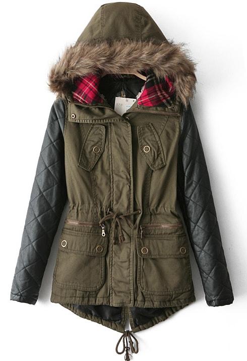 Army Green Contrast PU Leather Faux Fur Hood Coat -SheIn(Sheinside)
