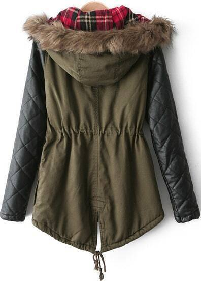Army Green Contrast PU Leather Faux Fur Hood Coat -SheIn(Sheinside)