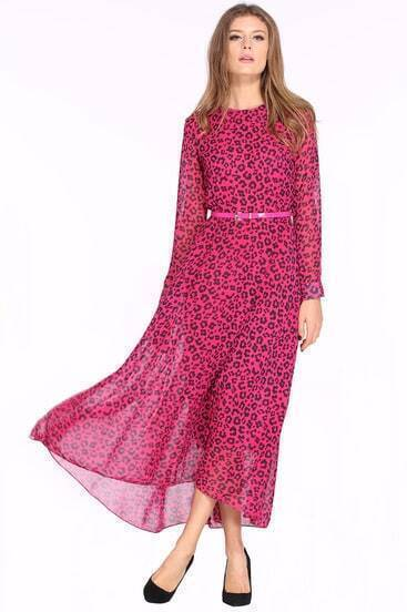 Rose Red Long Sleeve Leopard Maxi Dress