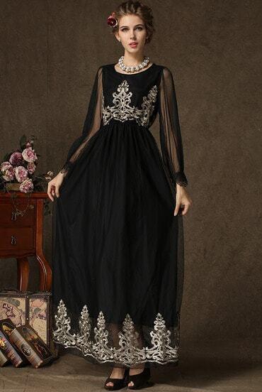 Black Long Sleeve Embroidered Sheer Mesh Yoke Dress
