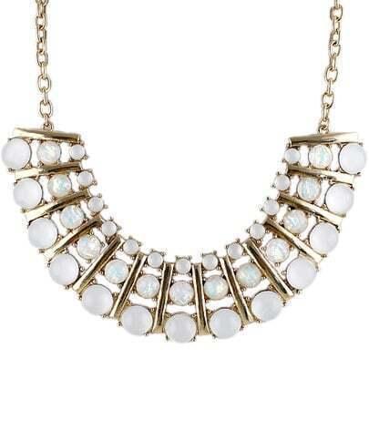 White Gemstone Gold Collar Chain Necklace