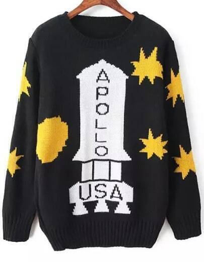 Black Long Sleeve APOLLO Print Knit Sweater