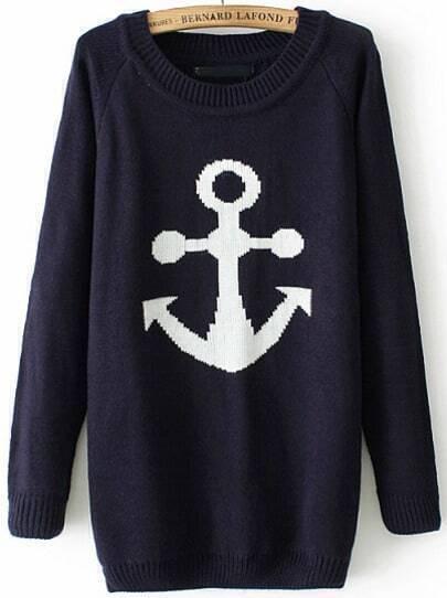 Navy Long Sleeve Anchors Print Knit Sweater