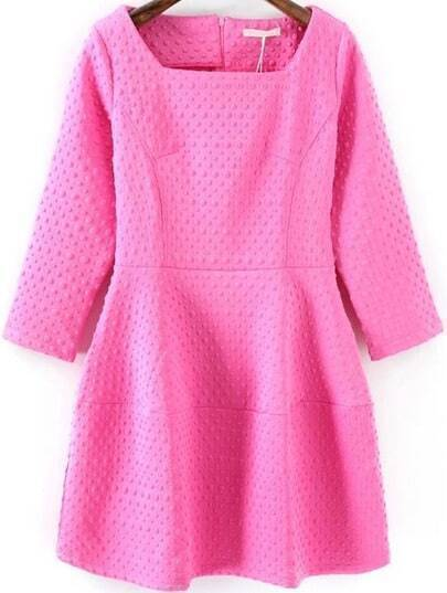 Vestito a pieghe girocollo rosa
