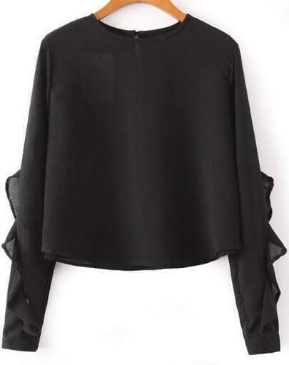 Black Long Sleeve Ruffle Crop Blouse