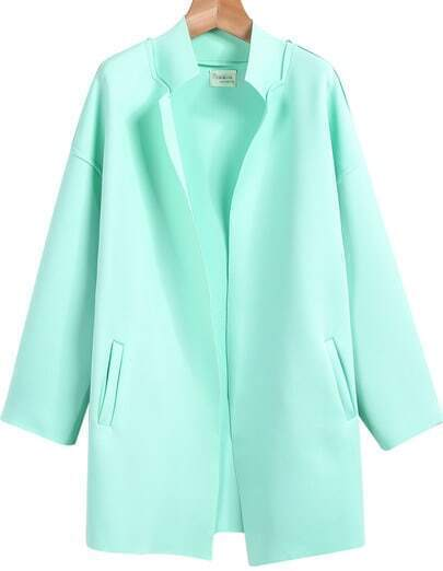 Green Stand Collar Long Sleeve Pockets Coat