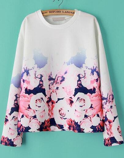 White Long Sleeve Ombre Floral Sweatshirt