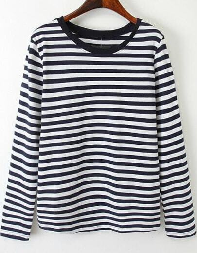 Navy White Long Sleeve Striped T-Shirt
