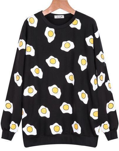 Black Long Sleeve Poached Print Sweatshirt