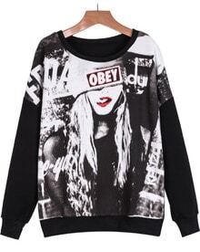 Black Long Sleeve Beauty Print Sweatshirt