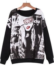 Black Long Sleeve Beauty Print Sweatshirt