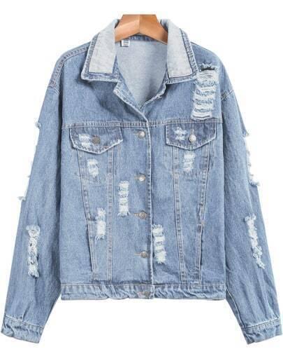 Light Blue Long Sleeve Ripped Denim Jacket