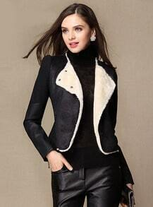Black Long Sleeve Slim Woolen Crop Coat