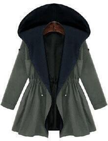 Army Green Hooded Drawstring Loose Coat