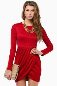 Red Long Sleeve Slim Bodycon Dress