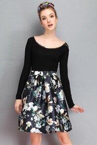 Black Vintage Floral Flare Skirt