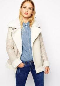 Beige Long Sleeve Faux Fur Lapel Outerwear