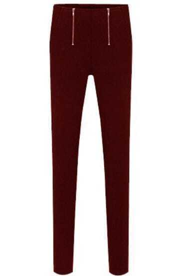 Wine Red Zipper Pencil Pant