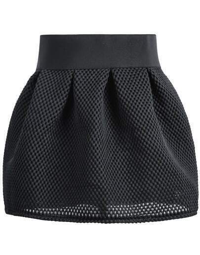 Black Zipper Hollow Grid Skirt