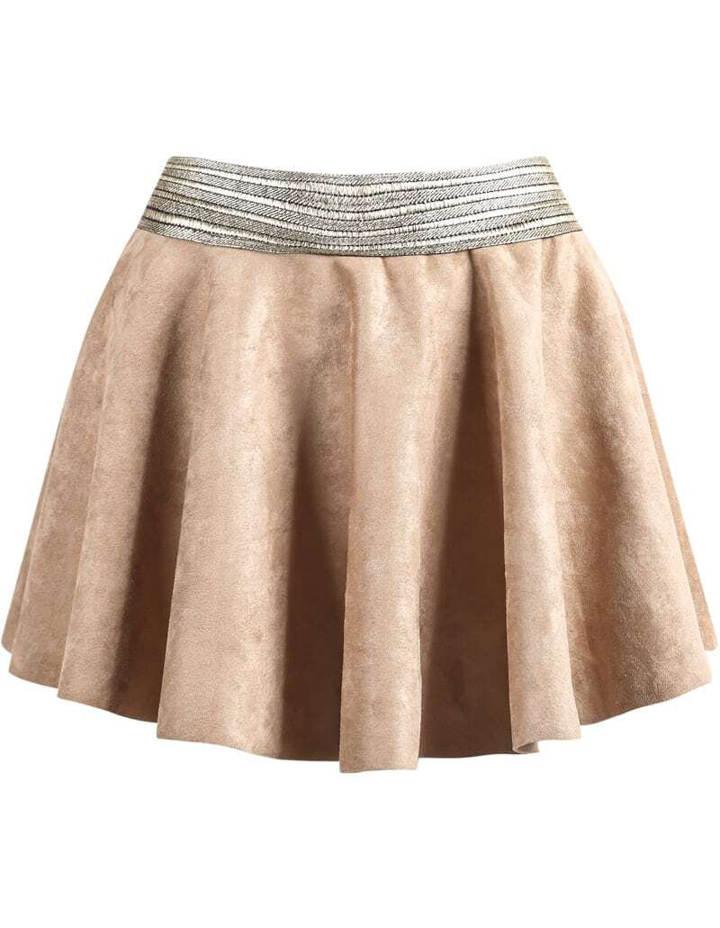 khaki contrast gold waist pleated skirt shein sheinside